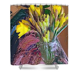 Shower Curtain featuring the digital art First Daffodils by Alexis Rotella