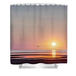 First Encounter Beach Cape Cod Square Shower Curtain