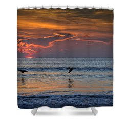 Shower Curtain featuring the photograph First Flight First Light by Steven Sparks