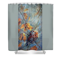 Shower Curtain featuring the painting First Flurries by Mary McCullah