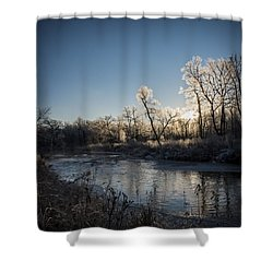 First Frost Shower Curtain by Annette Berglund