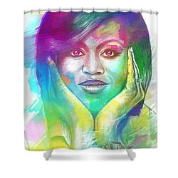 First Lady Obama Shower Curtain by AC Williams