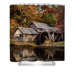 First Light At Mabry Mill Shower Curtain by Deborah Scannell