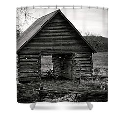 First Light At The Barn In Black And White Shower Curtain