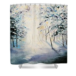 First Light Shower Curtain by Meaghan Troup