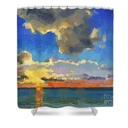 Shower Curtain featuring the painting First Light by Nancy  Parsons