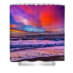 Shower Curtain featuring the photograph First Light On The Beach by Nick Zelinsky