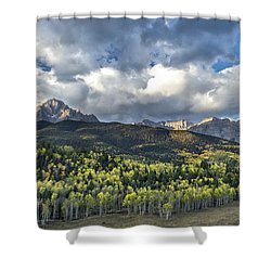 First Light On The Sneffels Range Shower Curtain