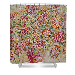 Shower Curtain featuring the painting First Love Flowers by Natalie Holland