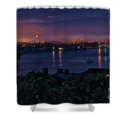 First Moonset Of 2018 Shower Curtain