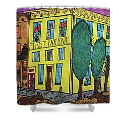 First National Hotel. Historic Menominee Art. Shower Curtain by Jonathon Hansen