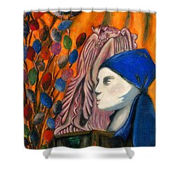 Shower Curtain featuring the pastel First Oil Pastel by Jean Haynes