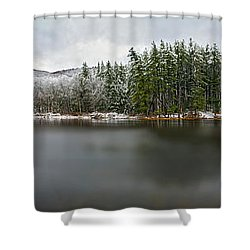 First Snow At Lake Nawahunta Shower Curtain by Angelo Marcialis