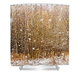First Snow. Snow Flakes I Shower Curtain