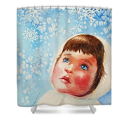 First Snowfall Shower Curtain by Marilyn Jacobson