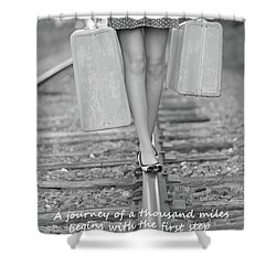 First Step Shower Curtain by Barbara West