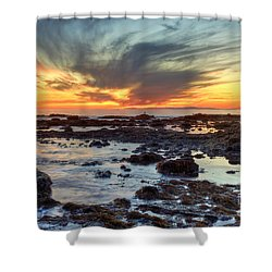 First Sunset Of 2016 Shower Curtain by Eddie Yerkish