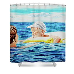 First Swimming - Nadar Primero Shower Curtain
