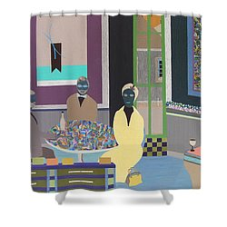 Shower Curtain featuring the painting First To Arrive by Bill OConnor