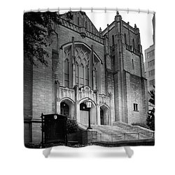 First United Methodist Church Charlotte In Black And White Shower Curtain