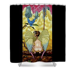 Shower Curtain featuring the painting First Watch by Paxton Mobley