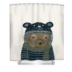 Shower Curtain featuring the painting First Winter Bear by Bri B