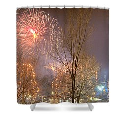Shower Curtain featuring the photograph Firstnight Fireworks by Susan Cole Kelly