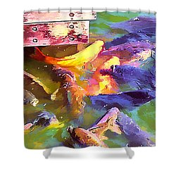 Fish 2 In Abstract Shower Curtain