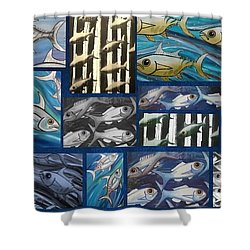 Fish Collage Shower Curtain