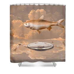 Shower Curtain featuring the drawing Fish Diner by Alexa Szlavics