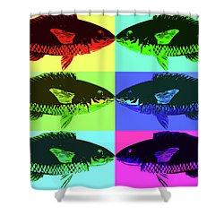 Shower Curtain featuring the digital art Fish Dinner Pop Art by Nancy Merkle