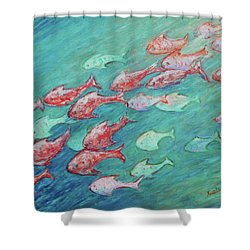 Shower Curtain featuring the painting Fish In Abundance by Xueling Zou