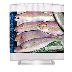 Fish Market Shower Curtain by Jean Pacheco Ravinski