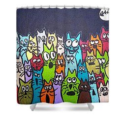 Fish Moon Cats Shower Curtain