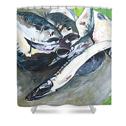 Fish On A Table Shower Curtain