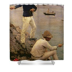 Fisher Boys Falmouth Shower Curtain by Henry Scott Tuke