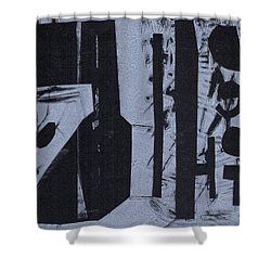 Fisher Covers Reverse White On Black Shower Curtain