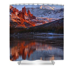 Shower Curtain featuring the photograph Fisher Towers And La Sal Mountains by Adam Jewell