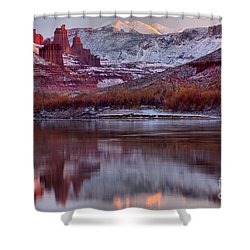 Shower Curtain featuring the photograph Fisher Towers Fading Sunset by Adam Jewell
