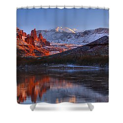 Shower Curtain featuring the photograph Fisher Towers Glowing Reflections by Adam Jewell