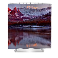 Shower Curtain featuring the photograph Fisher Towers Landscape Glow by Adam Jewell