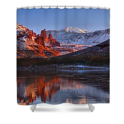 Shower Curtain featuring the photograph Fisher Towers Sunset Glow Panorama by Adam Jewell