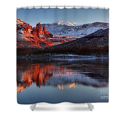 Shower Curtain featuring the photograph Fisher Towers Sunset On The Colorado by Adam Jewell