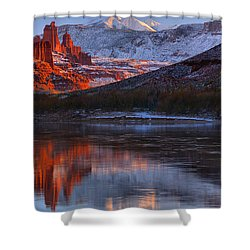 Shower Curtain featuring the photograph Fisher Towers Sunset Reflection Panorama by Adam Jewell