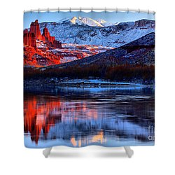 Shower Curtain featuring the photograph Fisher Towers Sunset Winter Landscape by Adam Jewell