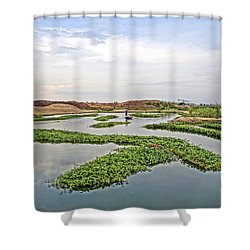 Fisherman  Shower Curtain by Arik S Mintorogo