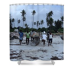 Fisherman Heading In From Their Days Catch At Sea With A Wooden Dhow Shower Curtain