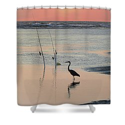 Fisherman Heron Shower Curtain