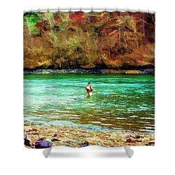 Shower Curtain featuring the photograph Fisherman Hot Springs Ar In Oil by Diana Mary Sharpton