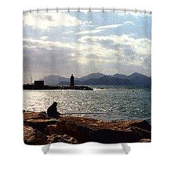 Fisherman In Nice France Shower Curtain by Nancy Mueller